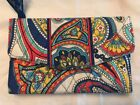 Vera Bradly Marina Paisly Large Wallet/Clutch Blue, Red, Yellow, White