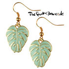 TFB - TROPICAL PALM LEAF DANGLE EARRINGS Funky Elegant Quirky Novelty Floral Fun