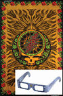 "Grateful Dead 3D Tapestry ""SYF Rose"" - Brown - (Glasses Included) - 2 Sizes"