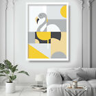 Scandinavian GEOMETRIC Yellow & Grey Flamingo Wall Art Print Picture Poster