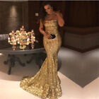 Long Evening Formal Party Dress Prom Ball Gown Bridesmaid Dresses Gold Sequin