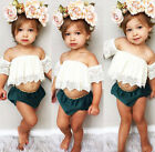 US Stock Summer Toddler Kids Girls Lace Tops Shirt Shorts Outfits Set Clothes