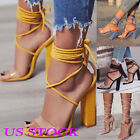 black lace heel - US Women Summer Sandals Ladies High Block Heels Lace Up Peep Toe Party Shoes