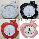 APPLE WALL CLOCK SWEEPING SECOND RED WHITE BLACK PINK ROMANY BLING GIFT NEW