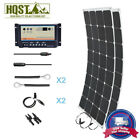 200W 12V Semi-Flexible Solar Panel Kit 10A Dual Battery Controller Marine Boat