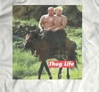 "TRUMP AND PUTIN ON HORSEBACK ""THUG LIFE"" PARODY T-Shirt CUSTOM RARE OLDSKOOL ART image"