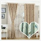 Colored Birds Print Blackout Curtain Blue Yellow Window Shee