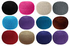 Handmade Chunky Knitted Round Pouffe Foot stool Ottoman 100% Cotton Multicolor