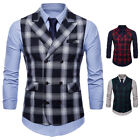 Double-Breasted Men's Vest Check Wool Tweed Formal Waistcoat In Stock 3 Colors