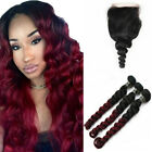 black hair with ombre red - Brazilian Ombre Black Red Loose Curly Wave Human Hair Bundles With Lace Closures