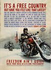 Vintage Harley Davidson Motorcycle It'a a Free Country Poster $13.05 CAD on eBay