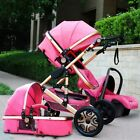 Baby Stroller 3 in 1 High view Pram foldable travel pushchair bassinet&Car Seat