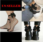 US Women's Ladies Fishnet Bow Socks Mesh Lace Short High Stockings Ankle Ruffle