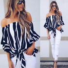 Womens Striped Bandage Off Shoulder Tops Blouse Ladies Casual Clothes US Stock