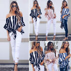 Women's Striped Bandage Off Shoulder Tops Blouse Ladies Casual Clothes US Stock