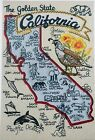 STATE OF CALIFORNIA BIRD FLOWER CITIES MACHINE EMBROIDERED QUILT BLOCK (HP)