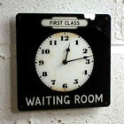 Railway Station Clock, Totem Waiting Room Sign, First Class Train Wall Clock