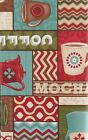 Coffee House Espresso vinyl flannel back tablecloth Red Brown Assorted Sizes
