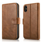 For Apple iPhone X 10 ICARER Detachable Flip Genuine Leather Wallet Case Cover