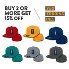 DECKY MENS CASUAL BASEBALL HAT RETRO FLAT BILL HATS FITTED CAP PLAIN CAPS COLORS
