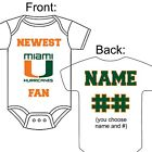 PERSONALIZED MIAMI HURRICANES FAN BABY GERBER ONESIE OPTIONAL SOCKS GIFT