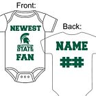 PERSONALIZED MICHIGAN STATE SPARTANS FAN BABY GERBER ONESIE OPTIONAL SOCKS GIFT