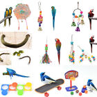 bird parrot cage hanging swing chew toys cockatiel budgie wooden standperches UQ