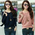 Women Knitted Batwing Hollow Casual Jumper Loose Pullover Sweater Tops FF