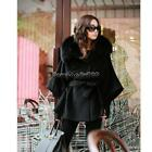 Women's Luxury Double Breasted Batwing Cape Poncho Coat Jacket Fur FF 03