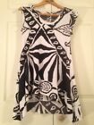 Nicola Antoni Women's Tunic Top Black White Scoop Neck Cap Sleeve Size S EUC