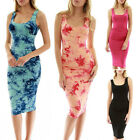 UK Womens Print Pencil Bodycon Square Neck Ladies Summer Casual Paty Knee Dress