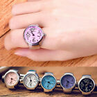Fashion Men Women Steel Round Elastic Quartz Finger Ring Watch Lady Girl Gift