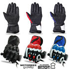 Mens Motorbike Leather Gloves Sports Gloves Reinforced Knuckle Motorcycle Glove