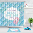 Mermaid Party Invitation Fish Scales Background Polyester Shower Curtain Liner