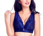 New Women Full Coverage Wire Less Lace Push Up Bra Big Size 36-50 C D E #Q2866