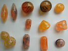 Assorted Hand Blown Art Glass Lampwork Beads, Orange/Brown/Yellow.  Bead Crafts
