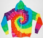 Adult Tie Dye Zip Hoodie Neon Rainbow Spiral Zipper Sweatshirt Grateful Dead art