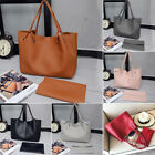 Womens 2Pcs Ladies PU Leather Tote Shoulder Handbag Purse Shopper Clutch Bag US