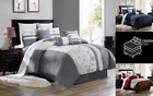 BEDROOM COLLECTION FLORAL EMBROIDERY DUVET COMFORTER TOP COVER BED 3PC SET
