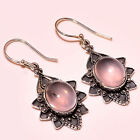 MADGASCAR ROSE QUARTZ VINTAGE STYLE  925 STERLING SILVER EARRINGS 1.5""