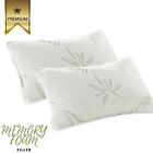 2 x Memory Foam Bamboo Luxury Pillows Removeable Cover Support Contouring New