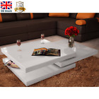 Coffee Table 3 Layers High Gloss Contemporary Furniture Square White Black CHIC
