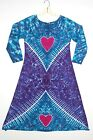 TIE DYE Women's Hearts Long Sleeve Dress hippie boho art love sm med lg xl 2X 3X