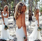 Backless Mermaid Lace Wedding Dresses Sexy Formal Long BOHO Beach Bridal Gowns