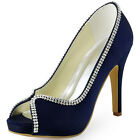 High Heel Peep Toe Stiletto Pumps Rhinestone Wedding Party Prom Shoes US 6-11