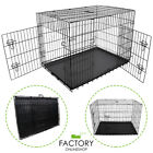 "[24""][30""][36""][48""] Dog Cat Crate Pet Kennel Pen 2-Door Folding Portable Cage"