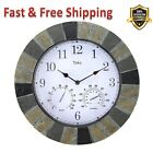 Wall Clock with Thermometer Hygrometer Slate 14 In. Faux Indoor Outdoor Durable