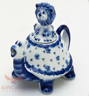 Porcelain Gzhel teapot Tortoise turtle with Lion cub as lid handmade in Russia