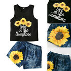 Toddler Baby Kids Girls Tops Vest+Shorts Pants Summer Outfit 2PCS Clothes Set