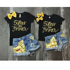 2PCS Toddler Kids Baby Girl T-shirt Tops + Denim Shorts Pants Outfit Clothes Set